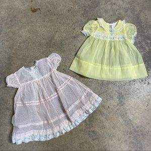 2pc Lot Vintage Nanette Sheer Infant Dresses